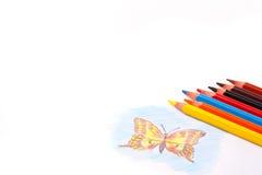 Triangular color pencils stock photography