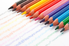 Triangular color pencils stock images