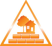 Triangular construction sign. With tree house and bricks Royalty Free Stock Images