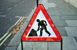 Triangular construction sign Stock Image