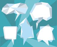 Triangular 3d bubble speech. Set of comic bubbles and elements with on stylish background cartoon design style Stock Images