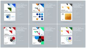 Square design presentation template with colourful triangles and shadows. Abstract vector set of modern horizontal Royalty Free Stock Photos