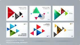 Triangular design presentation template with colourful triangles shadows. Abstract vector set of modern horizontal Stock Photo