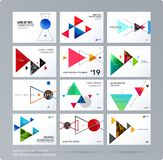 Triangular design presentation template with colourful triangles shadows. Abstract vector set of modern horizontal stock illustration
