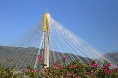 Triangular design of Ting Kau Bridge. Landmark infrastructure in Hong Kong Royalty Free Stock Images