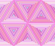 Triangular dimensions, abstract geometric repeatable background. Triangles mosaic in bright neon colors - blue, pink. Seamless vector pattern Royalty Free Stock Image