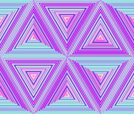 Triangular dimensions, abstract geometric repeatable background. Triangles mosaic in bright neon colors - blue, pink. Seamless vector pattern Royalty Free Stock Images