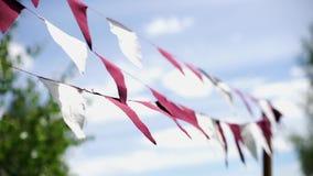 Triangular flags sway in the wind-2. Triangular flags sway in the wind. Holiday decoration stock video