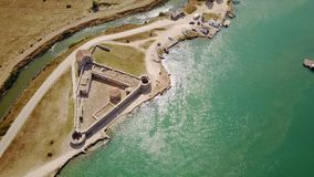Triangular fortress of Ali Pasha in Butrint, Albania. Drone over view of fort. Venice fell in 1797 and Ali Pacha of Tepeleni, who ruled over most of southern stock photos