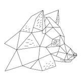 Triangular fox hand drawn illustration. Triangular fox head hand drawn vector illustration Royalty Free Stock Photo
