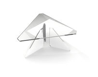 Triangular glass table Stock Photo