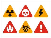 Triangular hazard warning signs. Set of vector miniature icons Royalty Free Stock Image