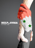 Triangular hold hands,help sign in syria. Vector Stock Image