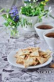 Triangular home made cracker with black and white sesame Stock Images