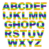 Triangular letters. Rainbow vector alphabet font in triangular design Royalty Free Stock Photography
