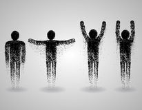 Triangular man set. Spirituality transformation, soul and body, human person, spirit meditation. Vector illustration Royalty Free Stock Images