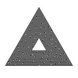 Triangular maze on a white background, pyramid, search for an exit, solution. Labyrinth, game, entertainment, puzzle, on a white background, Vector. Triangular stock illustration