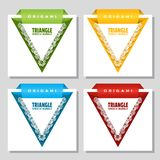 Triangular origami with lace edge speech bubble. Web stickers. Price tag template for catalog with space for text. Triangular origami with lace edge speech stock illustration