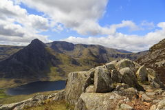 The triangular peak of Tryfan Stock Images