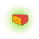 Triangular piece of cheese icon, comics style Royalty Free Stock Photography