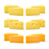 Triangular Pieces of Cheddar Swiss Cheese Close up  Royalty Free Stock Photography