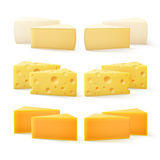 Triangular Pieces of Various Kind Cheese Swiss Cheddar Bri Camembert Royalty Free Stock Images