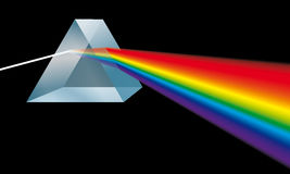Triangular prism breaks light into spectral colors. Optics: a triangular prism ( a transparent optical element with flat, polished surfaces that refract light) Stock Photo