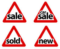 Triangular Road Sale Signs Stock Image