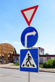 Triangular, round and square traffic signs Stock Photos