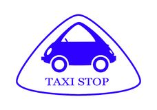 Taxi - Stop - Sign - 8. Triangular rounded symbol with a small, funny car and an inscription TAXI STOP inside. The image is drawn in blue on a white background Royalty Free Stock Image