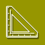 Triangular Ruler. Linear icon of triangular ruler for use in logo or web design. Often used for back to school design, stationery stores. Modern vector Royalty Free Stock Image