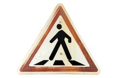 Triangular rusty ginger border road sign `Pedestrian crossing`. Isolated on white stock photo