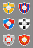 Triangular shields icons set Stock Photo