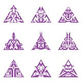 Triangular Sigils. Collection of abstract triangular sigils Royalty Free Stock Photo
