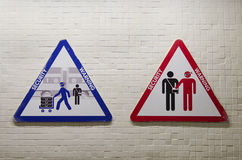 Triangular sign to warn about the risk of being robbed Royalty Free Stock Photo