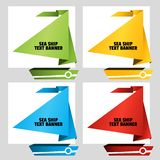 Triangular text banner like a nautical sailing boat. Web stickers. Template for catalog with space for text. Triangular text banner like a nautical sailing boat stock illustration