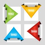 Triangular text banner like a to a paper airplane. Web stickers. Template for catalog with space for text. Triangular text banner like a to a paper airplane vector illustration
