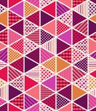 Triangular tiles pattern in vibrant color. Geometric tiles pattern in triangle shapes. Quilt art. Abstract triangle, pattern commercial use, scrapbook papers stock illustration