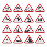 Triangular Warning Hazard  Signs set Royalty Free Stock Images