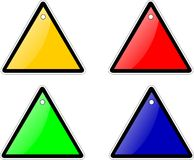 Triangulars. Warning plain template triangulars in colors Stock Images