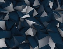 Triangulated abstract dark blue background. Triangulated 3d dark blue background Stock Photo