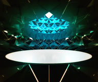 Triangulated green interior lighted structure with oval in the middle Stock Photos