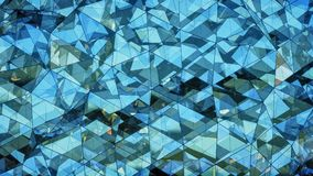 Triangulated polygonal blue glass surface abstract 3D rendering. Triangulated polygonal blue glass surface. Contemporary background. Abstract 3D rendering Stock Image