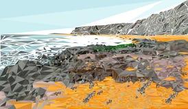 Triangulated seaside landscape Royalty Free Stock Image