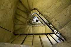 Triangulated spiral stairs. A triangulated spiral stairs in a castle in England Stock Photo