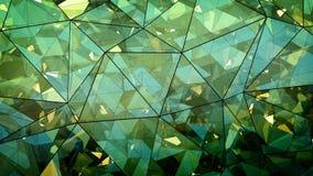 Triangulated wielowarstwowy zielonego szkła budowy abstrakt 3D r Fotografia Royalty Free