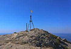 Triangulation point at the summit of Mount Falcon Royalty Free Stock Image