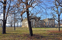 Trianon castle through autumn branches Royalty Free Stock Photos