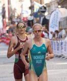 Triathlete Gilliam Backhouse and Margit Vanek running Royalty Free Stock Photos