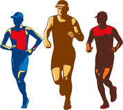 Triathlete Marathon Front Collection Retro Stock Images